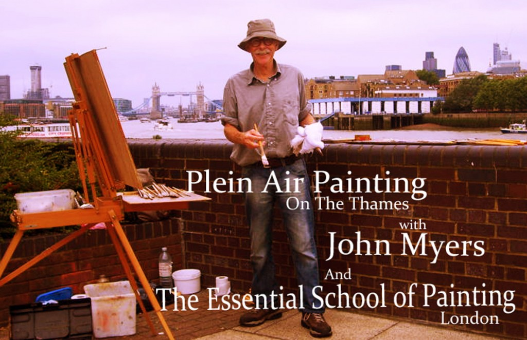 John-Myers-painting-along-The-Thames-with-Ad-Words