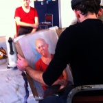 Tutor David Caldwell demonstrates painting portraits